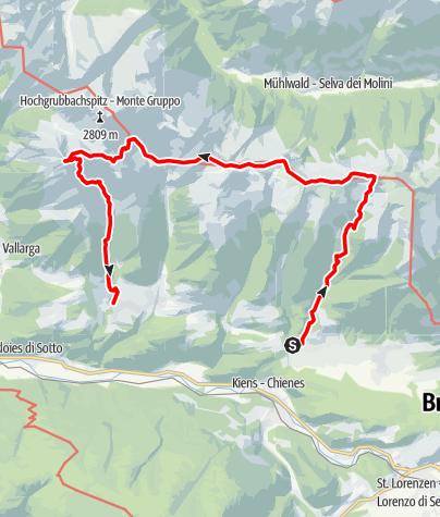 Karte / Mühlen (Pfalzen) - Pfunderer Höhenweg - Eidechsspitze - Terenten