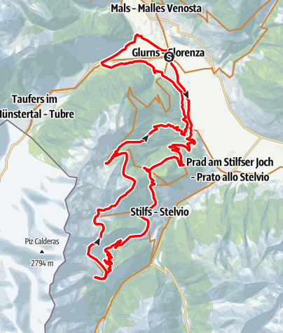Karte / Glurns-Schartalm-Furkelhütte-Obere Stilfser Alm-Glurns