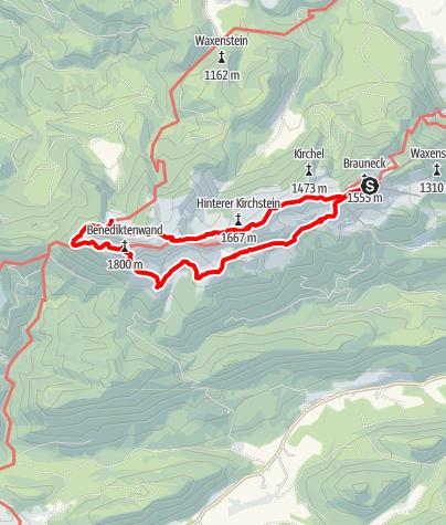 Karte / Brauneck - Tölzer Hütte - Benediktenwand und zurück