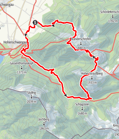 Karte / Pöllatschlucht - Bleckenau - Settele Steig - Ahornsattel - Ahornspitze - Reitweg - Tegelberg - BergbahnTalstation
