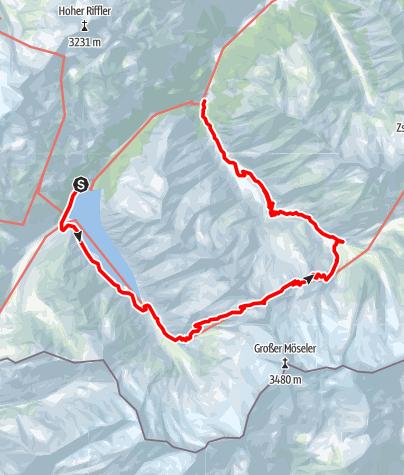 Karte / Schlegeisspeicher-Furtschaglhaus-Schönbichler Horn- Alpenrosenhütte-Breitlahner