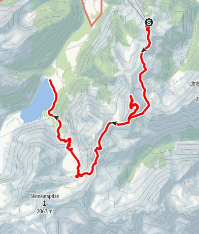 Karte / Neunerköpfle - Sulzspitze - Schochenspitze - Landsberger Hütte - Vilsalpsee