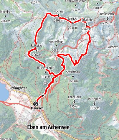 Karte / 5 Gipfel Klettersteig im Rofangebirge
