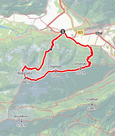 Karte / Bergtour: Vom Ettal zur Notkarspitze
