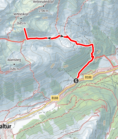 Karte / zur Friedrichshafener Hütte -> Hohe Köpfe und wieder zurück