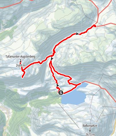 Karte / Stausee Kops -> Verbellaalpe -> Jochli -> Versalspitze -> Tafamunter Augstenberg -> Heilbronner Hütte -> Zeinisjochhof und zurück