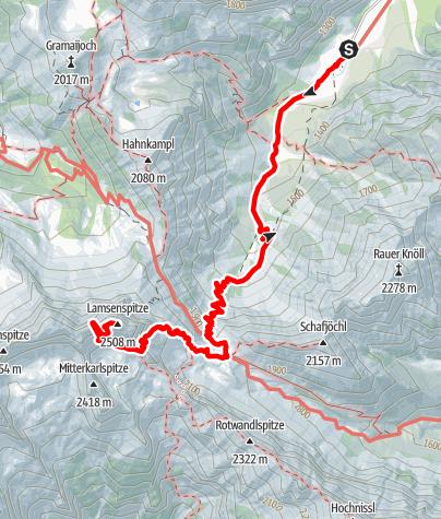 Karte / Klettersteig Lamsentunnel