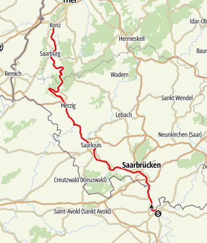 Karte / Saar Radweg von Saargemünd bis Konz