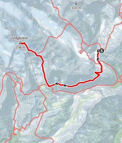 Karte / Erstbesteigerroute auf den Großglockner