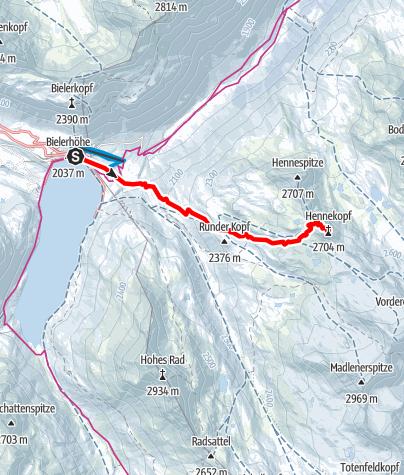 Karte / Silvretta Henne Kopf von der Bielerhöhe aus