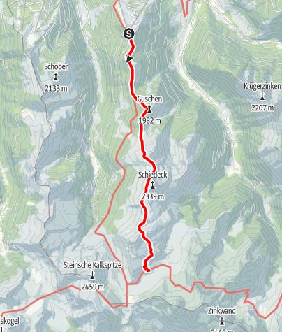 Karte / Schladminger Tauern: Hochwurzen - Ignaz Mattis Hütte