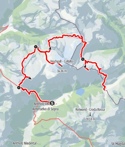 Karte / Durchquerung der Rieserfernergruppe