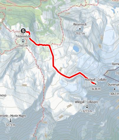 Karte / Rieserferner-Durchquerung - Etappe 3: Kasseler Hütte - Hochgall - Kasseler Hütte