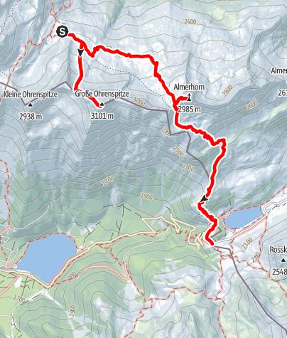 Karte / Rieserferner-Durchquerung - Etappe 5: Barmer Hütte - Ohrenspitze - Almerhorn - Staller Sattel