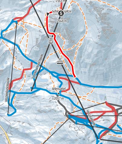 Karte / St. Anton - Schindlerrinnen Schindlerkar Steißbachtal