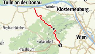 Karte / Wien Hütteldorf nach Langenlebarn