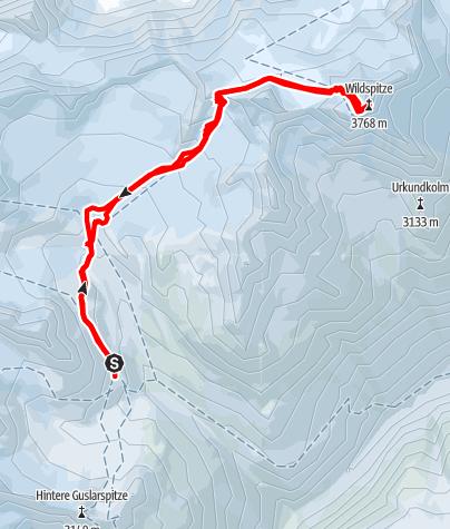 Karte / Vernagthütte - Wildspitze 3768m