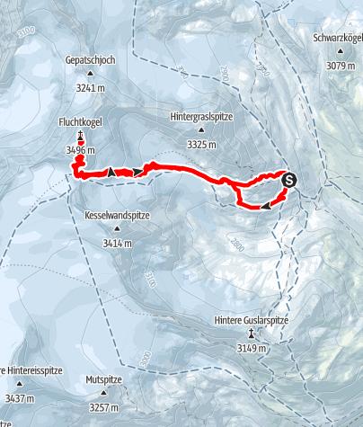 Map / Vernagthütte - Fluchtkogel 3497m