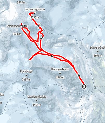Karte / Hochvernagtspitze 3535m und mehr