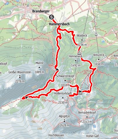 Karte / Osterfelderkopf (2031m) über Höllentalklamm