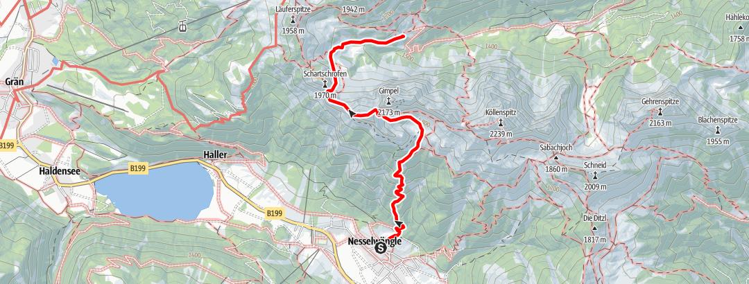 Karte / Nesselwängle - Gimpelhaus - Rote Flüh - Gerenjoch - Reutte