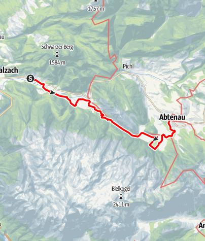 Karte / SalzAlpenSteig: Etappe 13: Scheffau - Abtenau