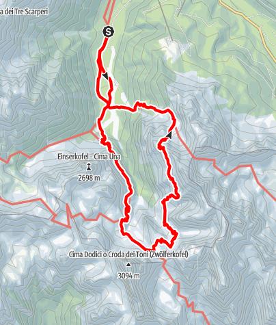 Map / Der Alpinisteig in den Sextener Dolomiten