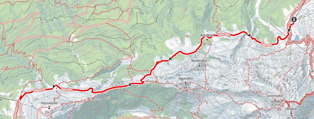 Karte / Zirbenweg - von der Bergstation Glungezer Bergbahn zur Bergstation Patscherkofelbahn