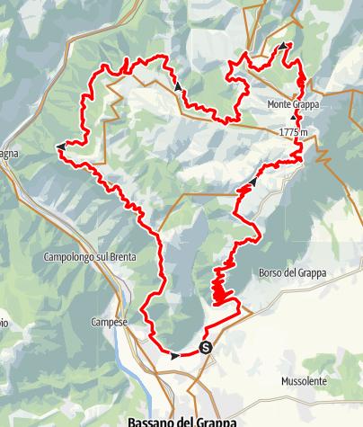 Karte / Militärstrassen Marathon am Monte Grappa