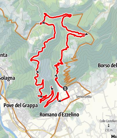 Karte / Von Bassano auf den Monte Grappa und den Sentiero 100