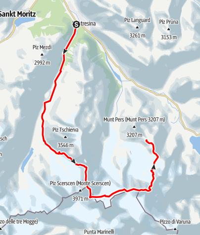 Karte / Biancograt-Berninaüberschreitung-Palü