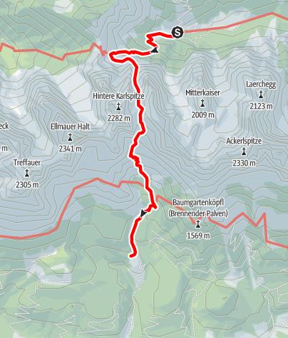 Karte / Griesner Alm über Ellmauer Tor zur Gaudeamushütte
