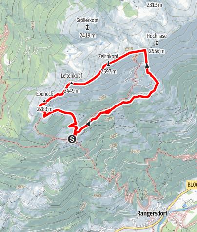 Karte / Marterle - Zellinkopf - Hoher Leitenkopf