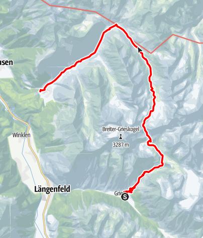Karte / Übergang von Gries im Ötztal nach Niederthai