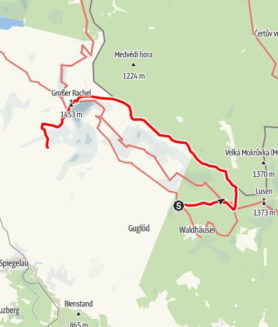 Karte / Vom Lusen zum Rachel auf dem Grenzweg BRD - CZ
