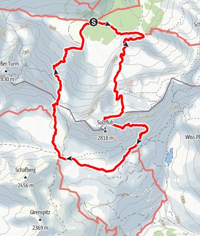 Karte / Cityslickers: Rund um die Drusenfluh, durchs Drusentor zur Lindauer Hütte.
