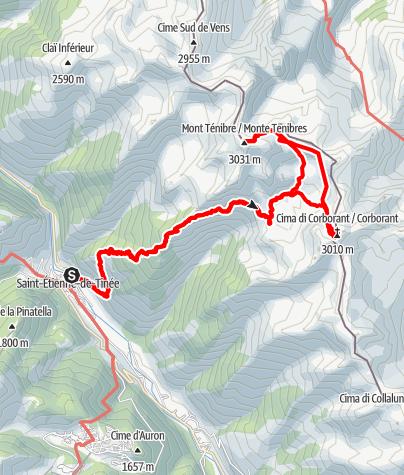Karte / Mont Tenibre and Cime di Corborant (gpx recorded)