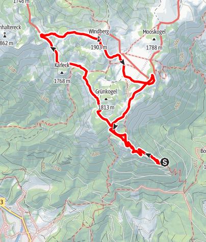 Karte / Rundwanderung auf der Schneealpe