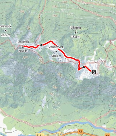 Karte / Wandeling naar de top van de Dobratsch