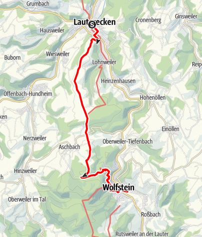 Karte / Höhenwanderung von Wolfstein nach Lauterecken