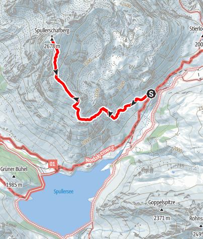 Karte / Gipfeltour von der Ravensburger Hütte zum Spuller Schafberg