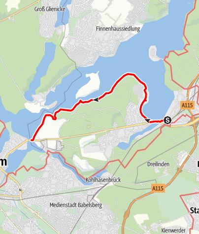 Karte / vom S Wannsee zur Glienicker Brücke
