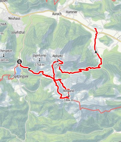 Karte / Rotwand und Aiplspitz mit der BOB