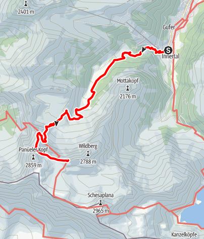Karte / Tourenplanung Schesplana 2 Tage (Tag 1)