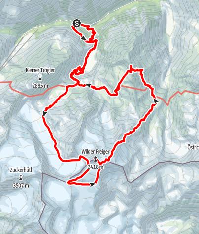 Map / Von der Grawa Alm über Lübecker Weg auf den Wilden Freiger und über die Mairspitze zurück zum Ausgangspunkt (3 Nächtigungen)