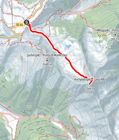 Karte / Auf die Hochplattspitze