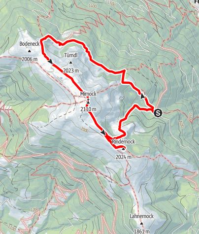 Karte / Mirnock über die Hochalm Hütte