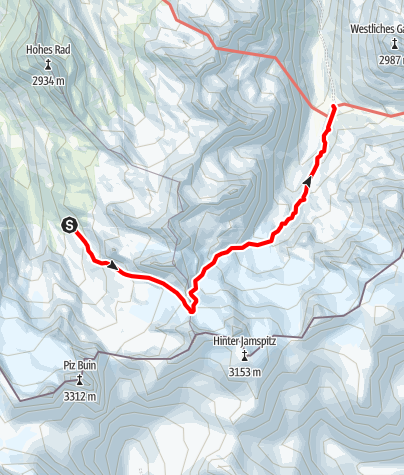 Karte / Über die Obere Ochsenscharte ins Jamtal