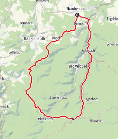 Karte / Rundkurs: Schwanner Warte - Hohloh - Enzklösterle - Aichelberg - Kleinenztal - Rotenbach - Schwanner Warte