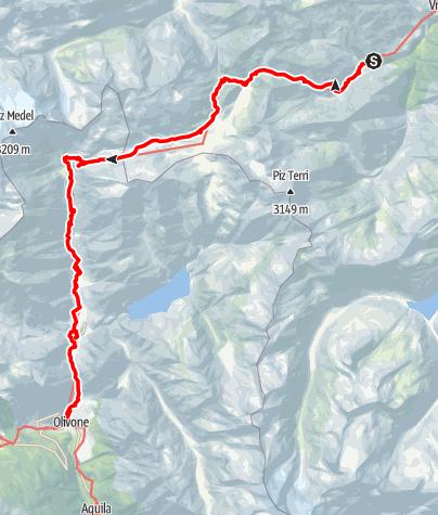 Karte / Greina-Hochebene
